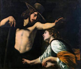 """Museo di Palazzo Pretorio - Battistello Caracciolo - """"Noli me tangere"""" 1618 - olio su tela, cm 123x142"""