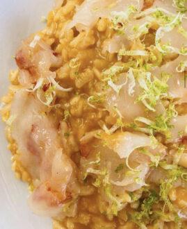 Chef Emanuele Bruni - Risotto ai crostacei, battuta di gamberi e zest di limè