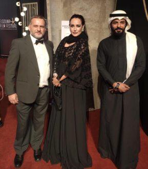 Ieva Lykos con il marito Carlo Fusco e il produttore egiziano SherifMandour