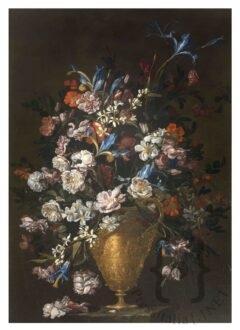 """Vaglia (Firenze), Fondazione De Vito Luca Forte (Napoli, 1605-1606 ca. - 1660 ca.) Vaso di fiori istoriato, con rose e iris 1649 Olio su tela 115 x 81 cm Iscrizioni: sulla base di pietra a destra """"L f '49"""""""