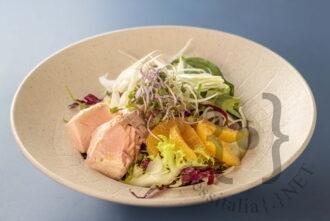 Salsedine - Insalatona con salmone al vapore, missicanza, finocchi e arance