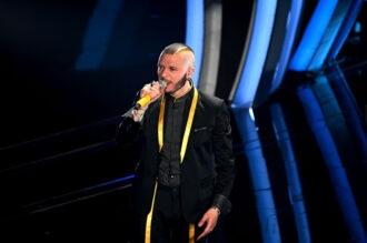 Marco Sentieri sul palco dell'Ariston