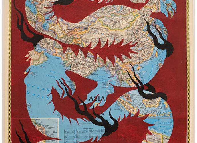 Luogo-Comune-'Drago-cinese'-acrilico-su-carta-geografica-Asia-cop